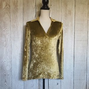 Anthropologie Velvet Collared Blouse Size M